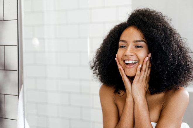 A woman enjoying the benefits of a HydraFacial