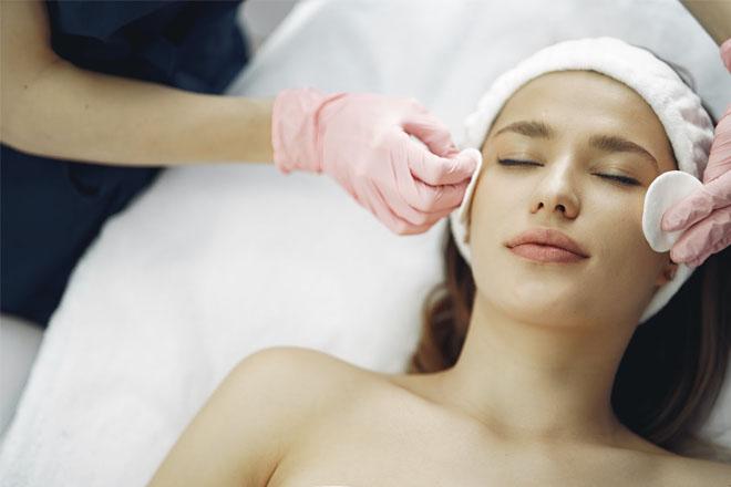 A woman getting a facial